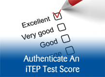 Authenticate an iTEP test score